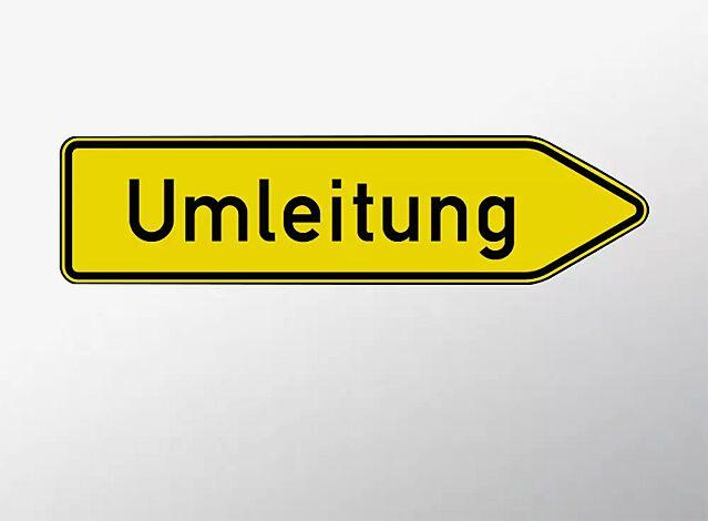 Verkehrszeichen: Umleitungswegweiser, rechtsweisend