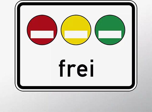 Verkehrszeichen: Umweltplakette rot, gelb, grün