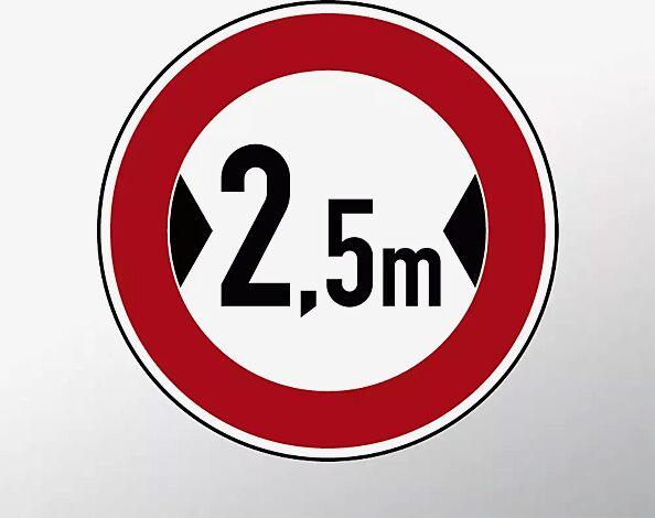 Verkehrszeichen: Verbot für Fahrzeuge über angegebene tatsächliche Breite