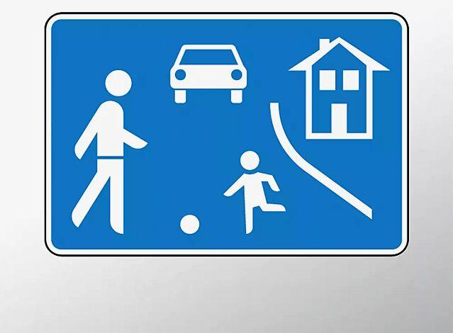 Verkehrszeichen: Beginn eines verkehrsberuhigten Bereichs