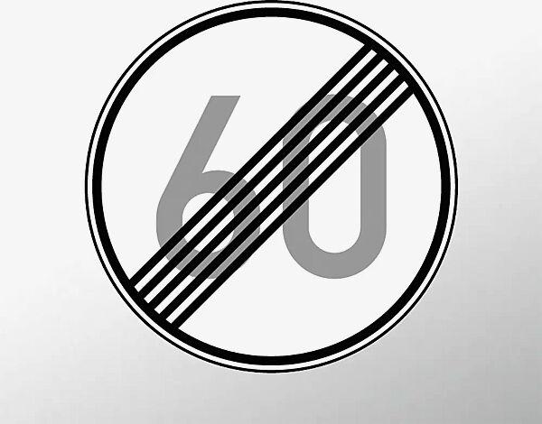 Verkehrszeichen: Ende der zulässigen Höchstgeschwindigkeit