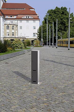 Versorgungspoller TIELT zur Energie- und Wasserversorgung, Höhe 1500 mm, in DB 703 eisenglimmer