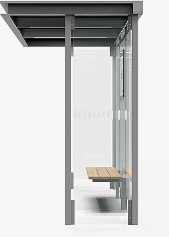 Wartehalle HOREC, Dachbreite x Dachtiefe 2955 mm x 1484 mm, mit Rück- und Seitenwände Verbundsicherheitsglas (VSG), mit Sichtstreifen, Sitzbank mittig, Fahrplanschaukasten, Stahlkonstruktion in RAL 9007 graualuminium