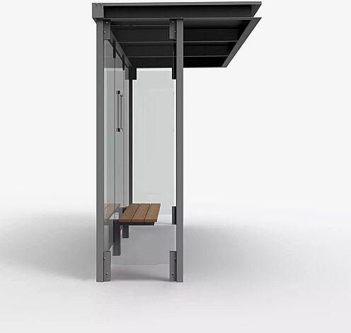 Wartehalle HOREC, Dachbreite x Dachtiefe 2955 mm x 1484 mm, mit Rück- und Seitenwände Verbundsicherheitsglas (VSG), Sitzbank mittig, Klapprahmen, Stahlkonstruktion in RAL 9007 graualuminium