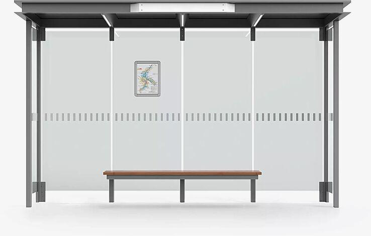 Wartehalle HOREC, Dachbreite x Dachtiefe 3874 mm x 1484 mm, mit Rück- und Seitenwänden Verbundsicherheitsglas (VSG), mit Sichtstreifen (auftragsbezogen), Sitzbank mittig, Klapprahmen, Stahlkonstruktion in RAL 9007 graualuminium