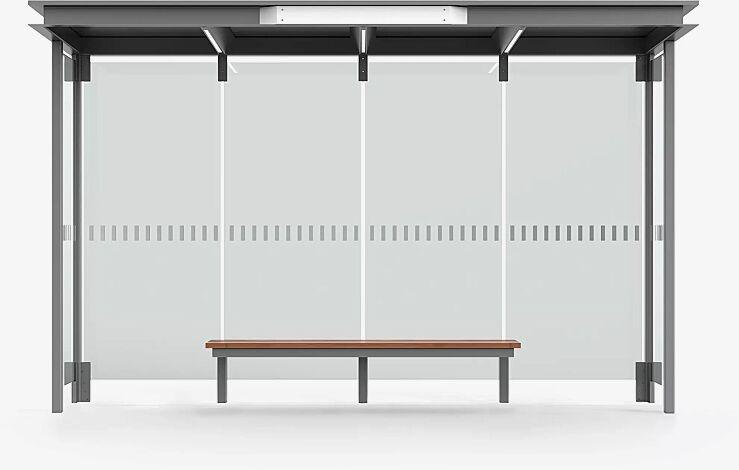 Wartehalle HOREC, Dachbreite x Dachtiefe 3874 mm x 1484 mm, mit Rück- und Seitenwänden Verbundsicherheitsglas (VSG), mit Siebdruckstreifen, Sitzbank mittig, Stahlkonstruktion in RAL 9007 graualuminium