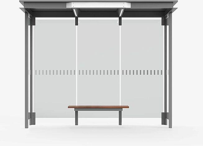<div>Wartehalle HOREC, Dachbreite x Dachtiefe 2955 mm x 1484 mm, mit Rück- und Seitenwänden Verbundsicherheitsglas (VSG), mit Siebdruckstreifen, Sitzbank mittig, Stahlkonstruktion in RAL 9007 graualuminium</div>
