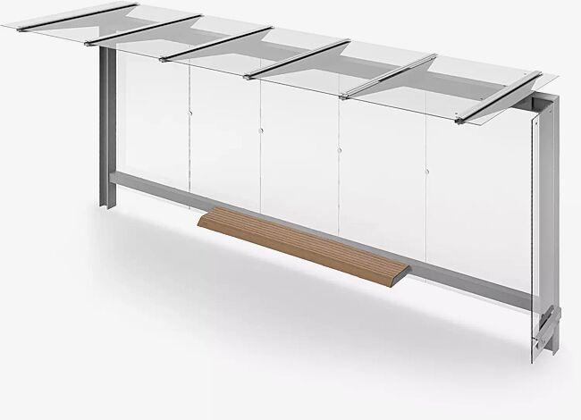 Wartehalle STINGRAY, Dachbreite x Dachtiefe 3375 mm x 1498 mm, Rückwand ESG, Klarglas, inklusive Sitzbank, Stahlkonstruktion in RAL 9006 weißaluminium