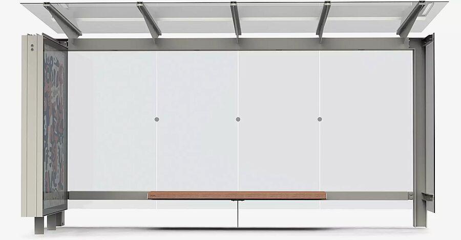 Wartehalle STINGRAY, Dachbreite x Dachtiefe 4325 mm x 1798 mm, mit Rück- und einer Seitenwand ESG, Klarglas sowie Werbevitrine und Sitzbank, Stahlkonstruktion in RAL 9007 graualuminium
