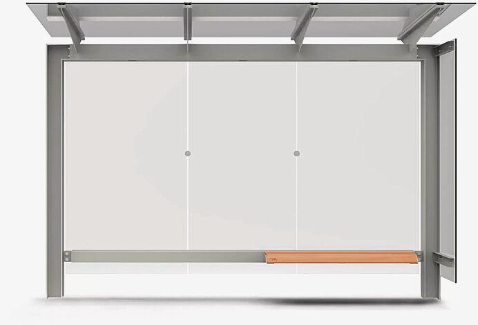Wartehalle STINGRAY, Dachbreite x Dachtiefe 3375 mm x 1498 mm, mit Rück- und einer Seitenwand VSG Klarglas, Sitzbank, Stahlkonstruktion in RAL 9007 graualuminium