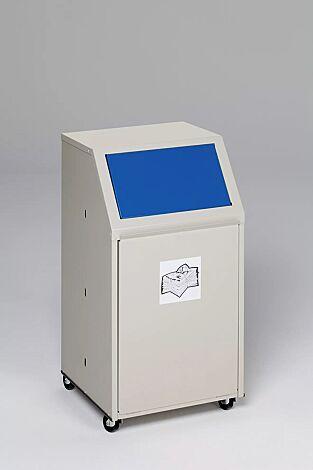 """<div id=""""container"""" class=""""container"""">Wertstoffsammler MANCHESTER, 40 Liter, mit Laufrollen, mit Piktogramm Papier, Einwurfklappe in RAL 5010 enzianblau</div>"""