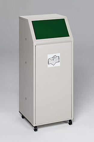 """<div id=""""container"""" class=""""container"""">Wertstoffsammler MANCHESTER, 70 Liter, mit Laufrollen, mit Piktogramm Glas, Einwurfklappe in RAL 6001 smaragdgrün</div>"""