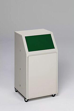 """<div id=""""container"""" class=""""container"""">Wertstoffsammler MANCHESTER, 40 Liter, mit Laufrollen, Einwurfklappe in RAL 6001 smaragdgrün</div>"""