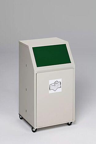 """<div id=""""container"""" class=""""container"""">Wertstoffsammler MANCHESTER, 40 Liter, mit Laufrollen, mit Piktogramm Glas, Einwurfklappe in RAL 6001 smaragdgrün</div>"""