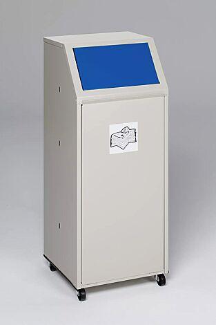 """<div id=""""container"""" class=""""container"""">Wertstoffsammler MANCHESTER, 70 Liter, mit Laufrollen, mit Piktogramm Papier, Einwurfklappe in RAL 5010 enzianblau</div>"""