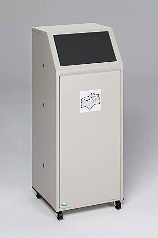 """<div id=""""container"""" class=""""container"""">Wertstoffsammler MANCHESTER, 70 Liter, mit Laufrollen, mit Piktogramm Restmüll, Einwurfklappe in RAL 7021 schwarzgrau</div>"""