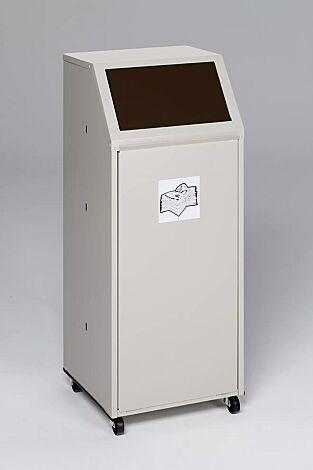 """<div id=""""container"""" class=""""container"""">Wertstoffsammler MANCHESTER, 70 Liter, mit Laufrollen, mit Piktogramm Biomüll, Einwurfklappe in RAL 8014 sepiabraun</div>"""