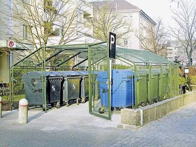 Wertstoffüberdachung SPUTNIK für 8 Stück 4-Rad-Abfallgroßbehälter, Dachbreite x Dachtiefe 4750 mm x 6000 mm, Stahlkonstruktion in RAL 6003 olivgrün