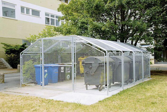 Wertstoffüberdachung SPUTNIK für 8 Stück 4-Rad-Abfallgroßbehälter, Dachbreite x Dachtiefe 4750 mm x 6000 mm, Stahlkonstruktion feuerverzinkt