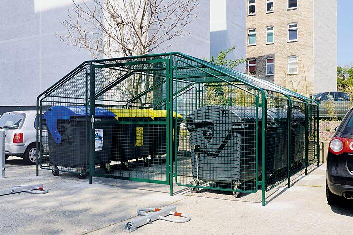 Wertstoffüberdachung SPUTNIK für 6 Stück 4-Rad-Abfallgroßbehälter, Dachbreite x Dachtiefe 4750 mm x 4500 mm, Stahlkonstruktion in RAL 6005 moosgrün