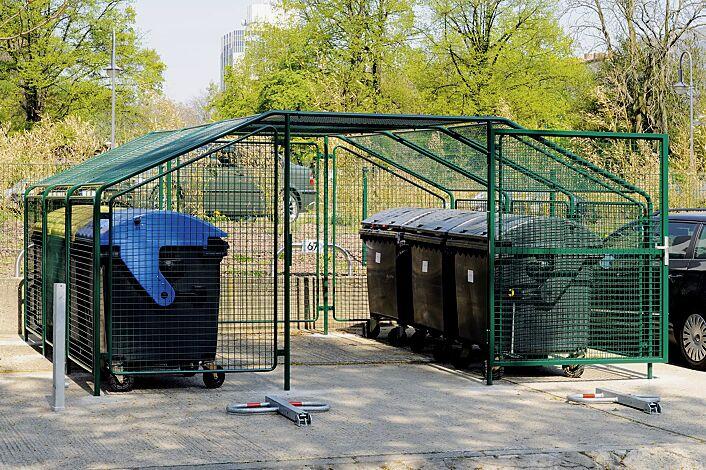 Wertstoffüberdachung SPUTNIK für 6 Stück 4-Rad-Abfallgroßbehälter, Dachbreite x Dachtiefe 4750 mm x 450 mm, Stahlkonstruktion in RAL 6005 moosgrün