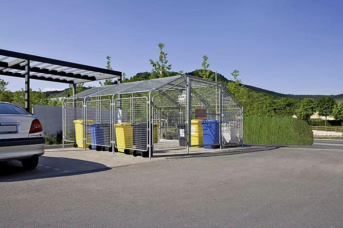 Wertstoffüberdachung SPUTNIK für 6 Stück 4-Rad-Abfallgroßbehälter, Dachbreite x Dachtiefe 4750 mm x 4500 mm, Stahlkonstruktion feuerverzinkt